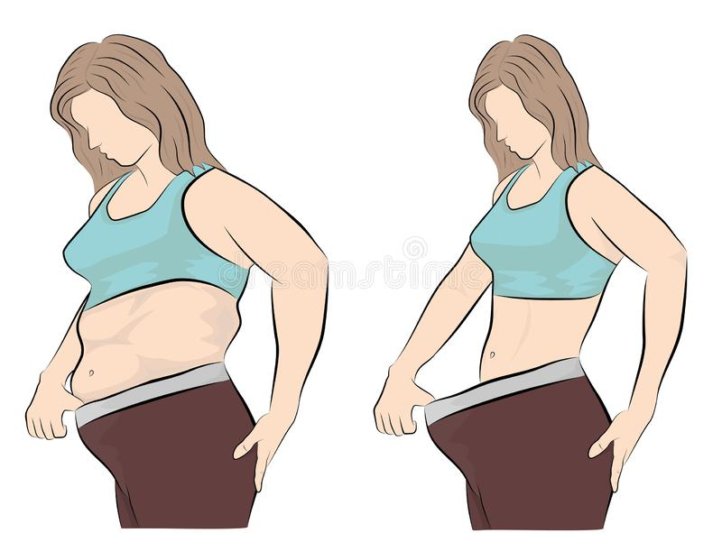 Woman`s body before and after weight loss. vector illustration. vector illustration