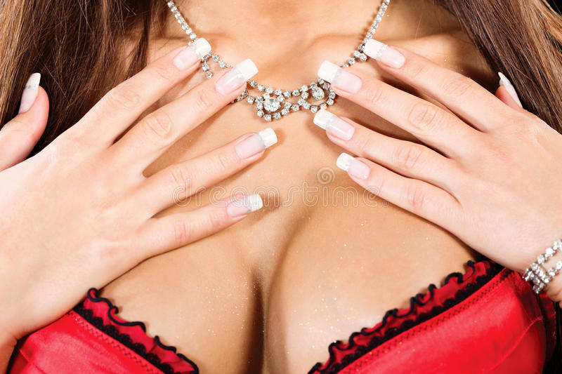Download Woman's Breasts And Neck With A Necklace Royalty Free Stock Image - Image: 26088196