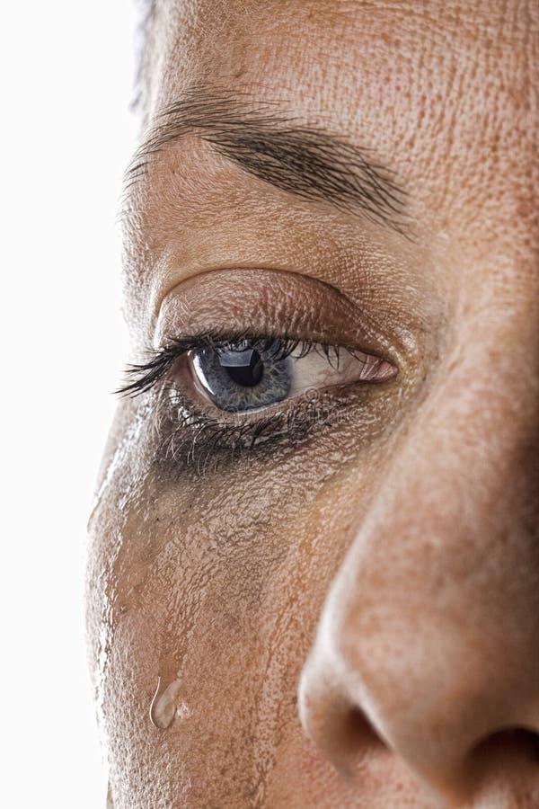 Woman's Crying Eye. Close Up Shot of a Woman Crying royalty free stock photo