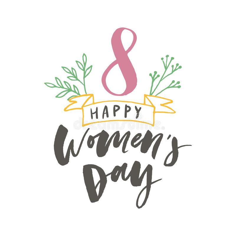 Woman s Day text design with flowers and hearts on square background. Vector illustration. Woman s Day greeting calligraphy design. In pink colors. Template for vector illustration