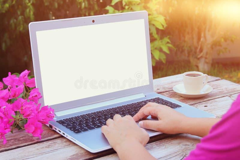 Woman& x27; s entrega usando o portátil com a tela vazia na tabela de madeira fora no parque imagens de stock royalty free