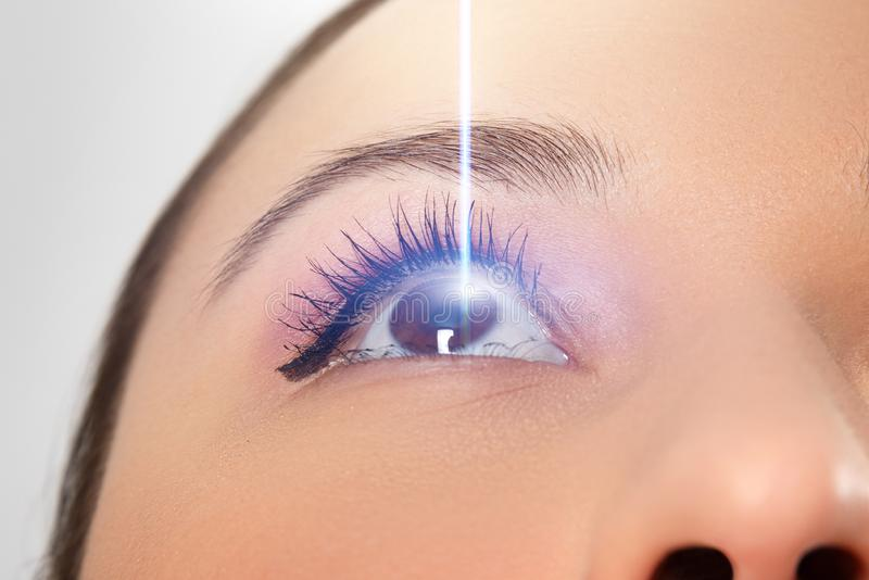 Woman`s eye close-up. Laser beam on the cornea. Concept of laser vision correction royalty free stock image