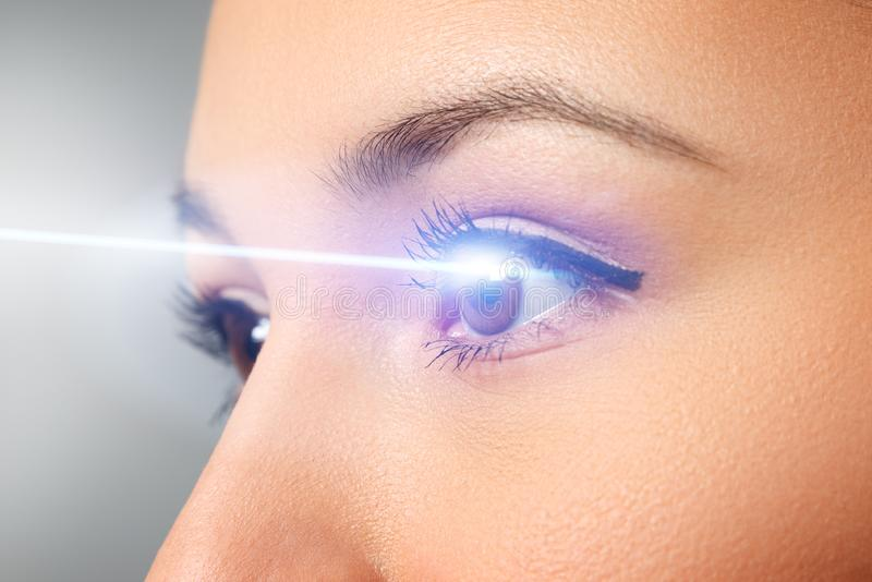 Woman`s eye close-up. Laser beam on the cornea. Concept of laser vision correction royalty free stock photos