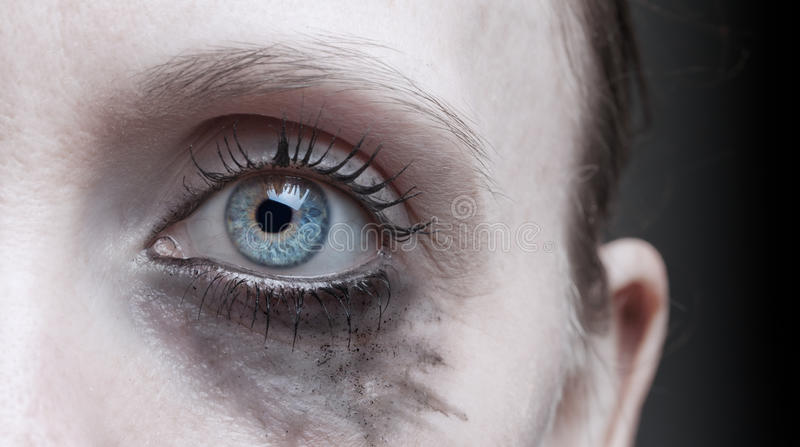 Woman's eye with running makeup royalty free stock image