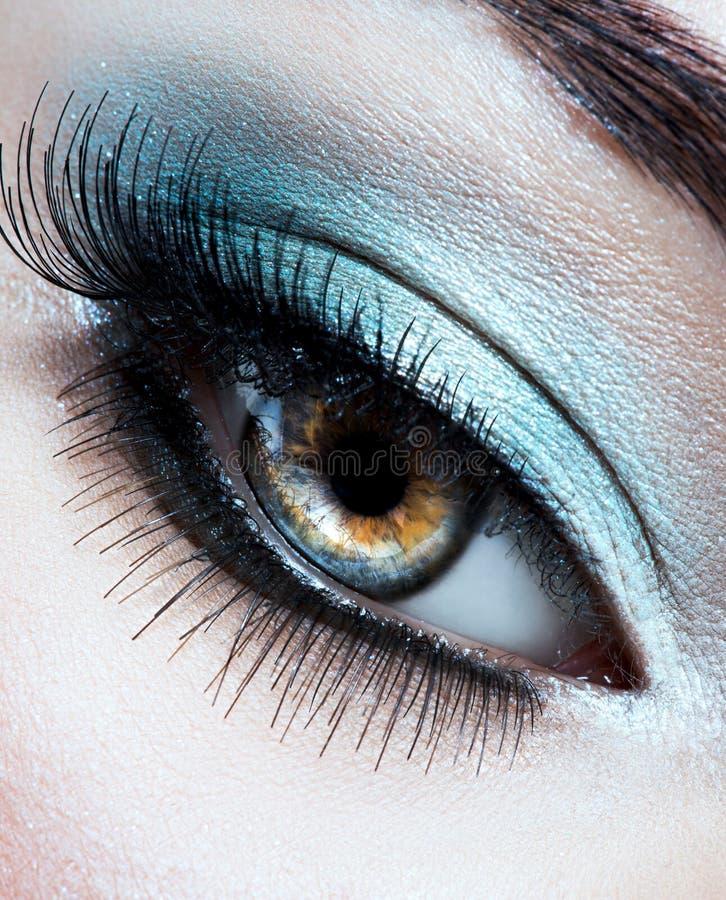 Free Woman`s Eye With Blue Eye Makeup Stock Photo - 166175560
