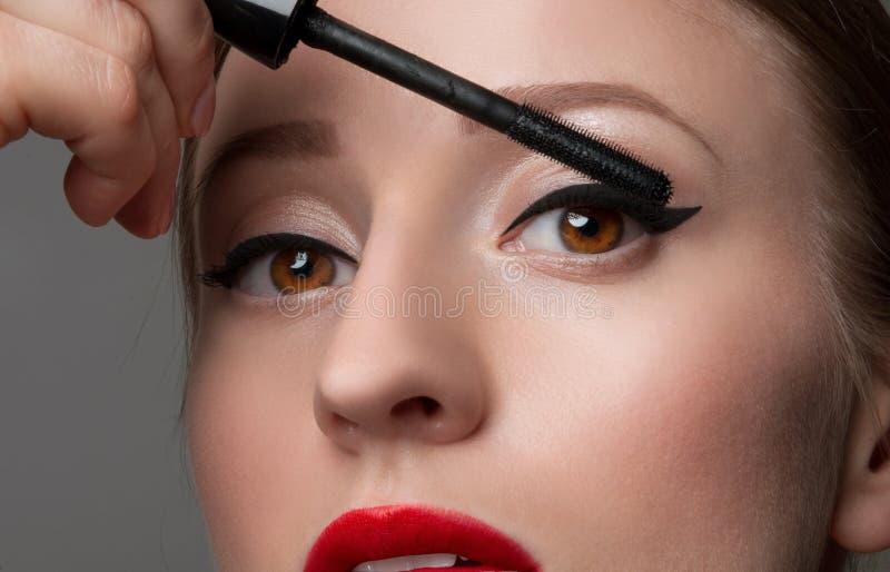 Woman's eyes with beautiful make up and long eyelashes. Mascara Brush stock image