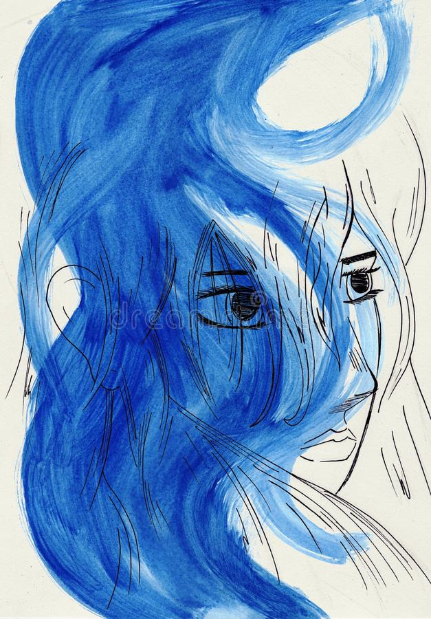 Download Artistic Portriat Of Woman In Blue Tones Stock Illustration - Image: 11988752