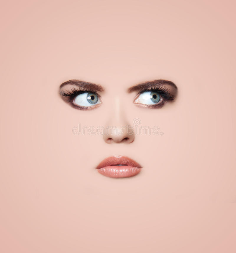 Woman's face background stock images