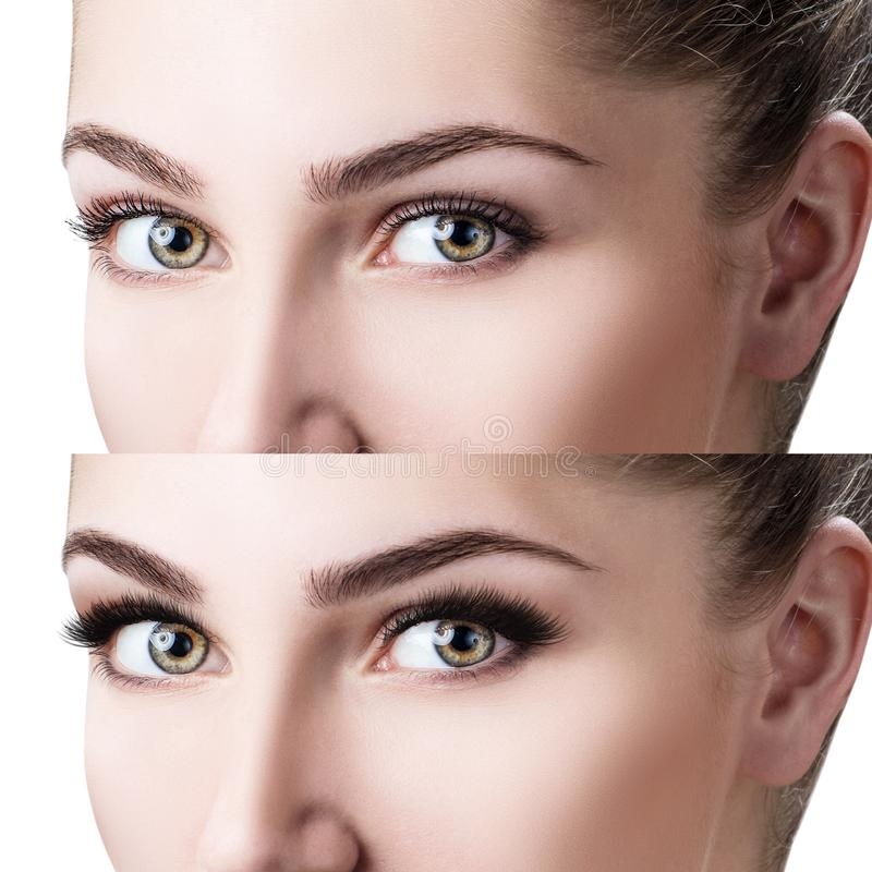 Free Woman`s Face Close-up Before And After Bright Makeup. Stock Photos - 112109863