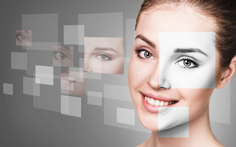 Woman`s face collected from different parts. Young woman`s face collected from different parts over gray background royalty free stock image