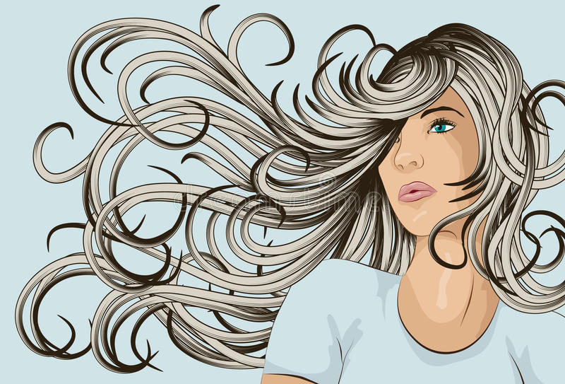 Woman's face with detailed hair vector illustration