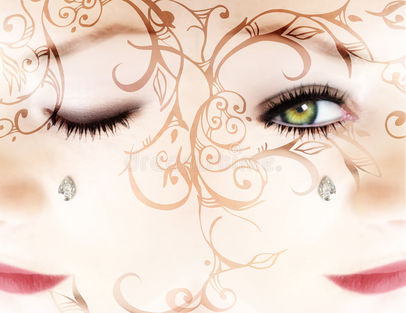 Download Woman?s Face With A Diamond And Scrolls Stock Illustration - Image: 1009923