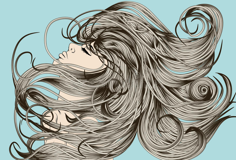 Woman's face flipping detailed hair royalty free illustration