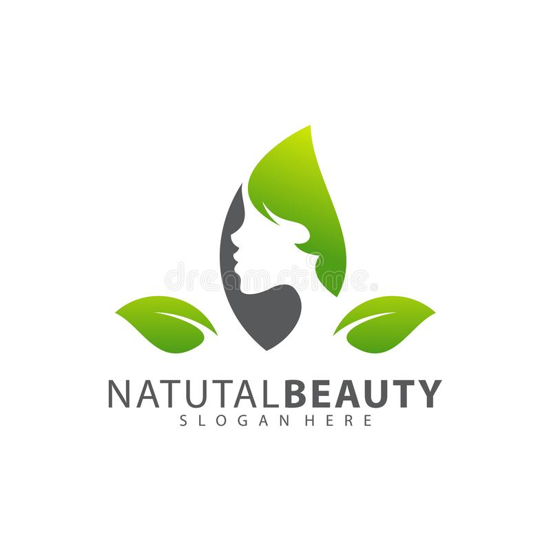 Woman`s face in flower leaves. Abstract design concept for beauty salon, massage, cosmetic and spa. Vector female logo design temp royalty free illustration