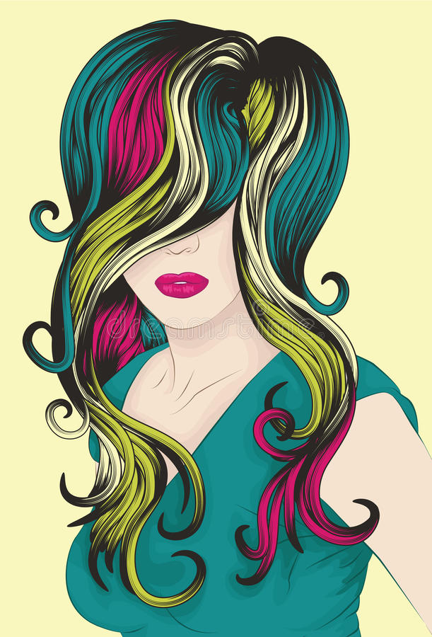 Woman's face with funky detailed hair stock illustration