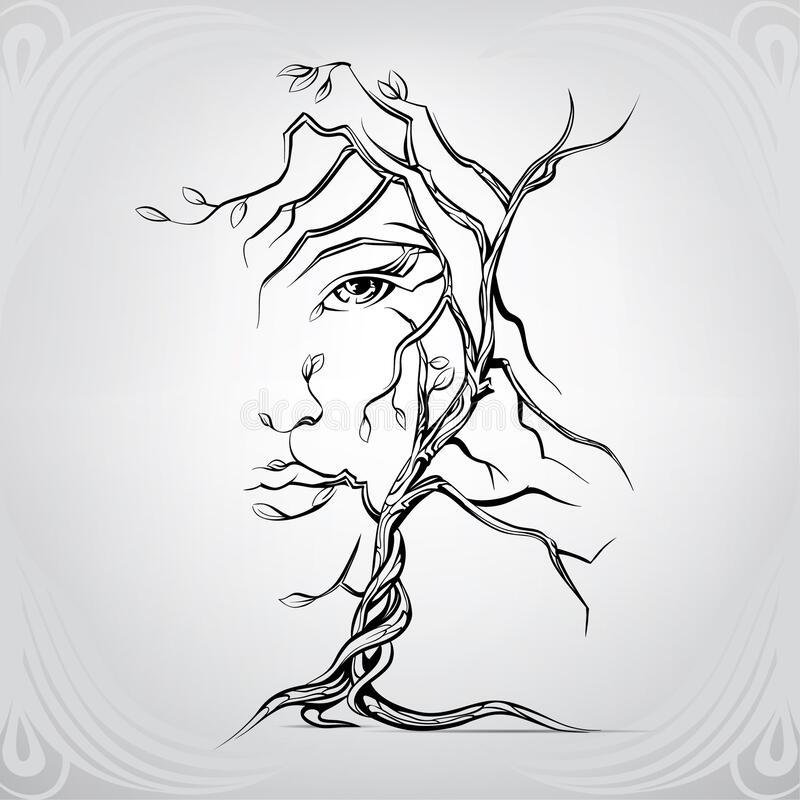 Free Woman`s Face In The Form Of A Tree. Vector Illustration Stock Photography - 185564522
