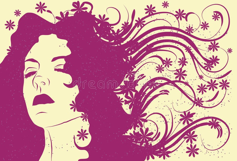 Download Woman's Face With Long Abstract Flowing Hair Stock Vector - Image: 13077972