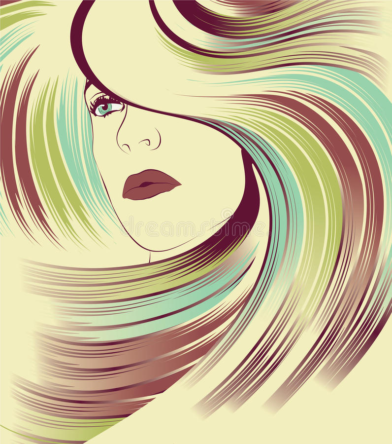 Woman's face with long colorful hair royalty free illustration