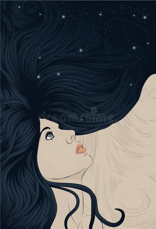 Woman's face with long detailed flowing hair royalty free illustration