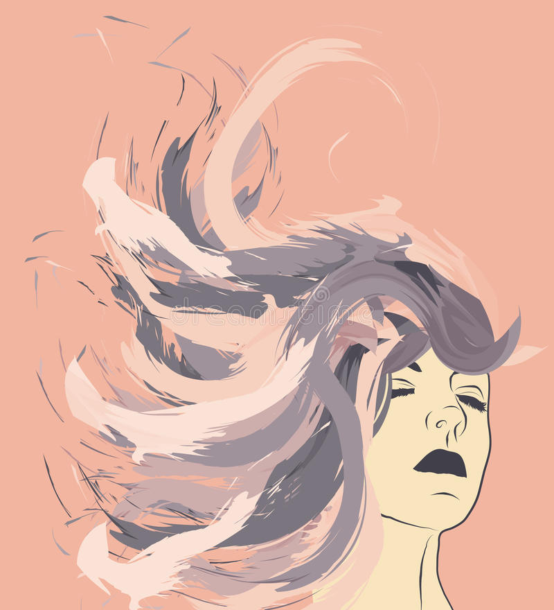 Download Woman's Face With Long Painted Hair Stock Vector - Image: 13658428