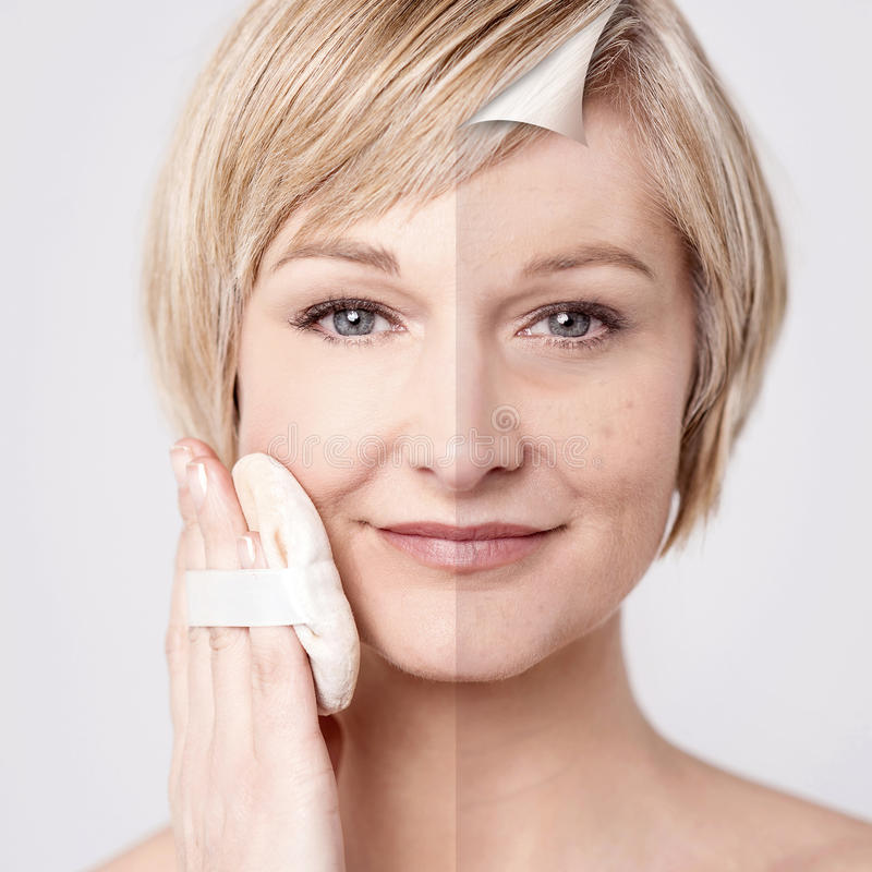 Woman's face before and after makeup stock images