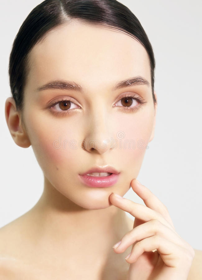 The woman's face with natural make-up. stock image
