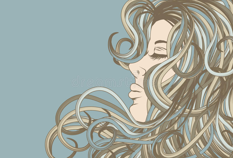 Download Woman's Face In Profile With Detailed Hair Stock Vector - Image: 13525161