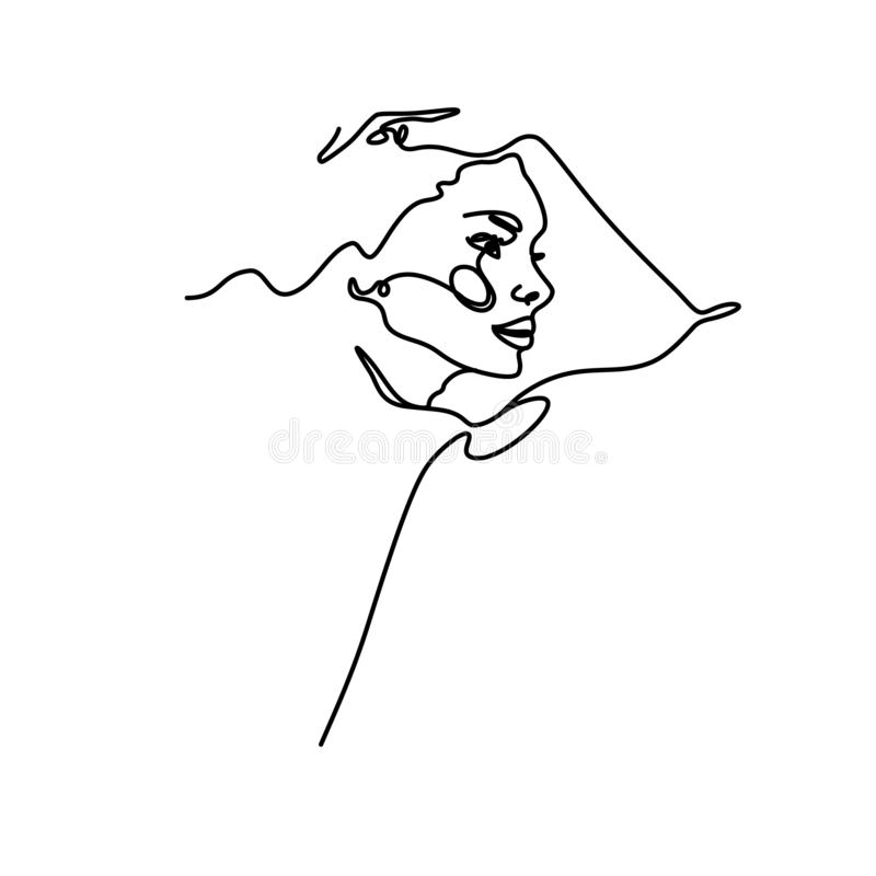 A woman`s face in profile in the trendy style of outline. Abstract minimalistic linear sketch. royalty free illustration