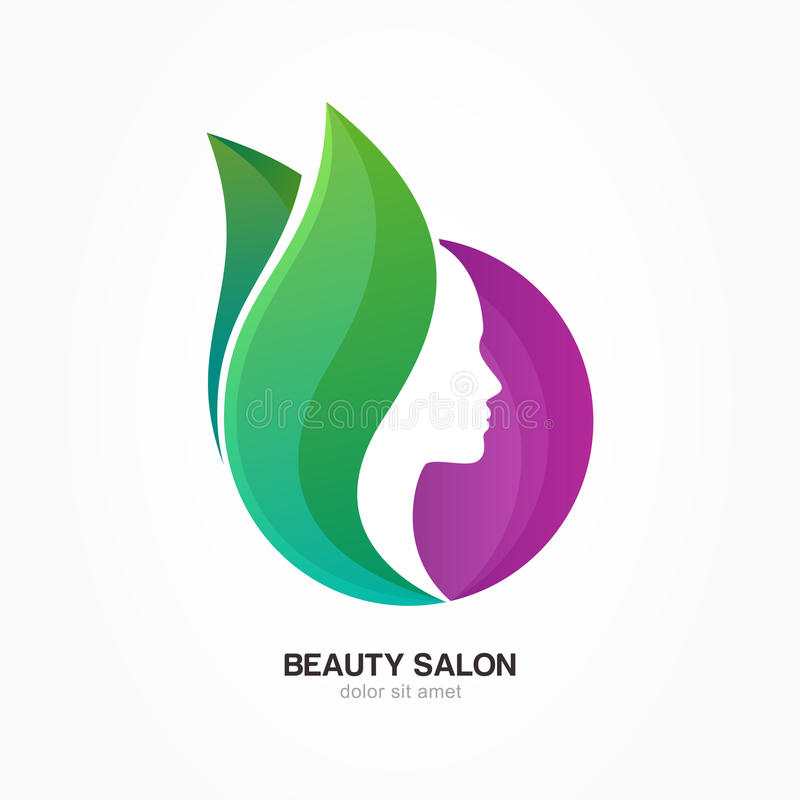 Woman`s face in purple circle shape with green flower leaves. Vector logo design template. Abstract design concept for beauty salon, massage, cosmetic and spa stock illustration
