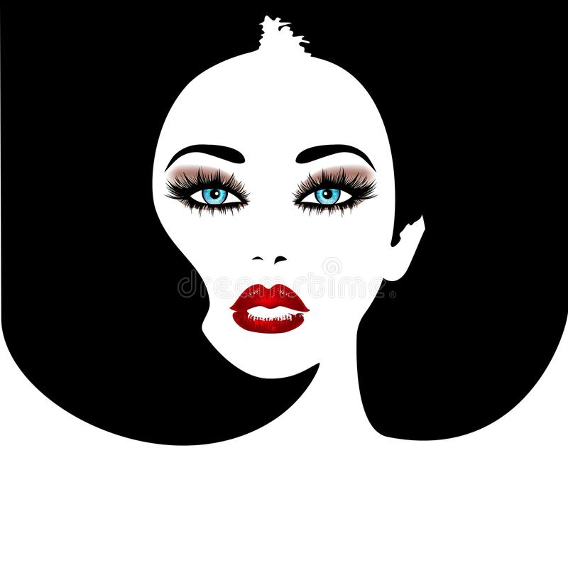 Woman`s face with red lips and blue eyes. Vector fashion illustration. Black and white silhouette royalty free illustration