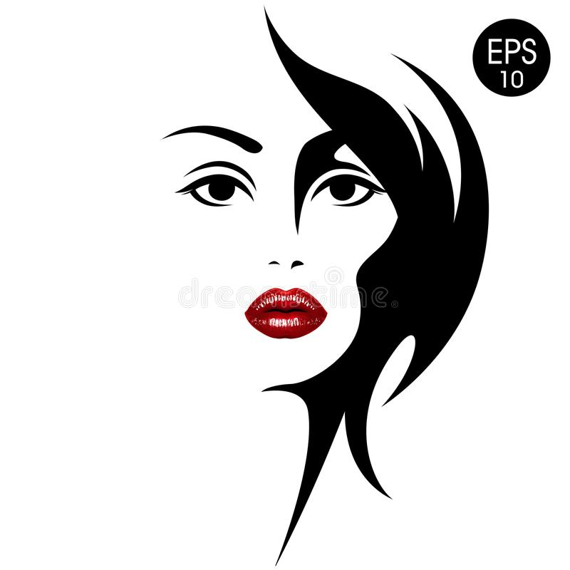 Woman`s face with red lips. Vector fashion illustration. Black and white silhouette vector illustration