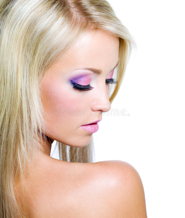 Woman's face with saturated make-up. Beautiful Woman's face with saturated make-up stock photo