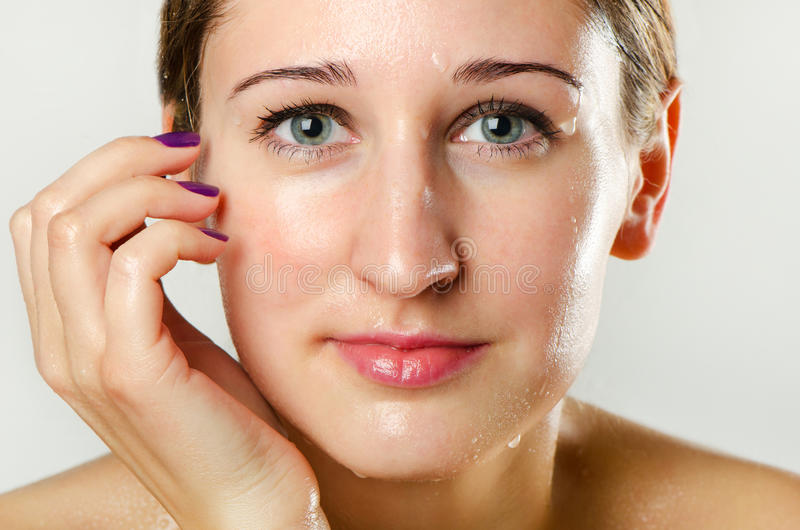 Download Woman's Face With Water Drops Stock Image - Image: 28379121