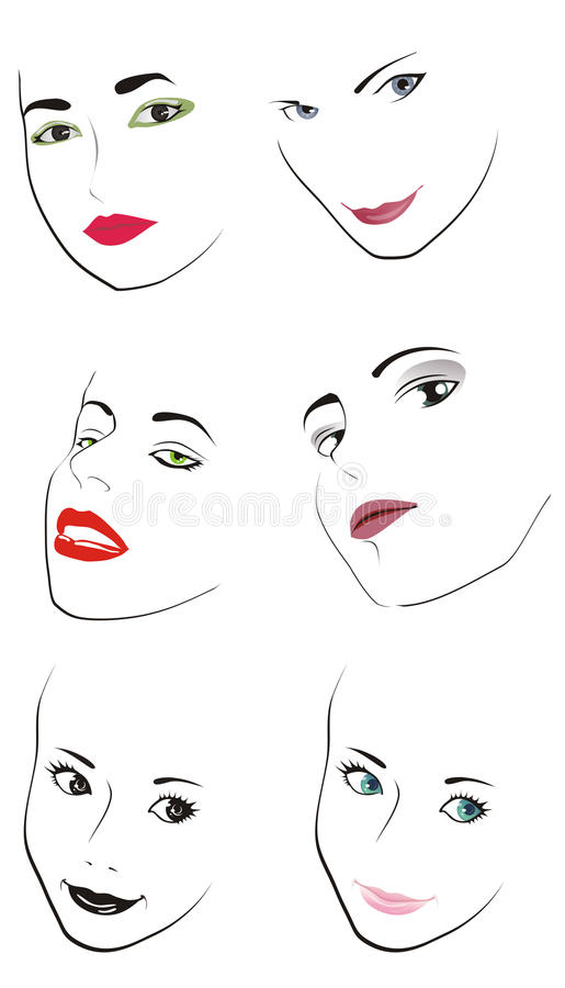 Woman's faces. Illustration woman's faces on white background