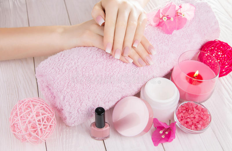 Woman`s french ombre manicure. With cosmetics set stock photo