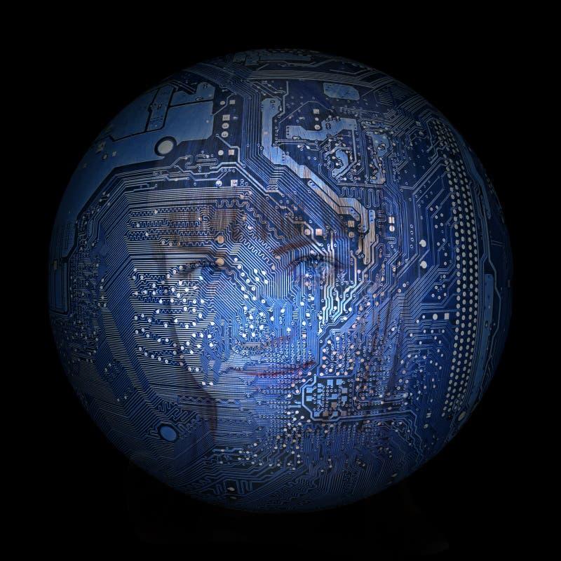 Woman& x27; s gezicht op de achtergrond van elektronische digitale planeet stock illustratie