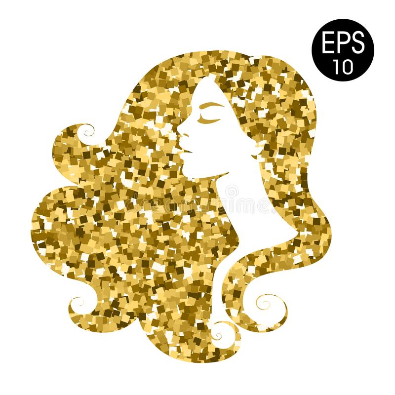 Woman`s gold silhouette. Vector fashion portrait. Golden mosaic silhouette royalty free illustration