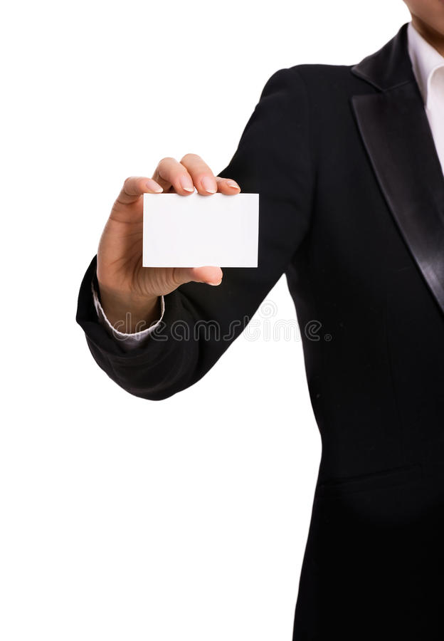 Woman's hand with blank card stock photo