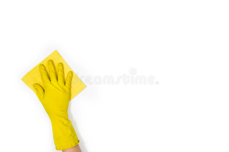 Woman`s hand cleaning isolated on white background stock images