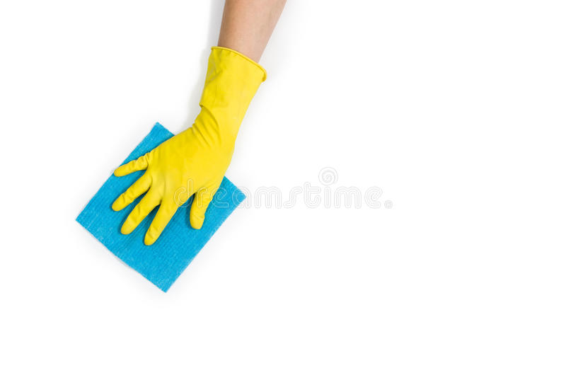 Woman`s hand cleaning isolated on white background stock photos