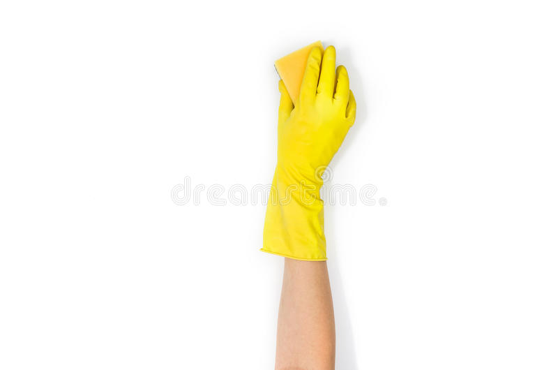 Woman`s hand cleaning isolated on white background stock photography