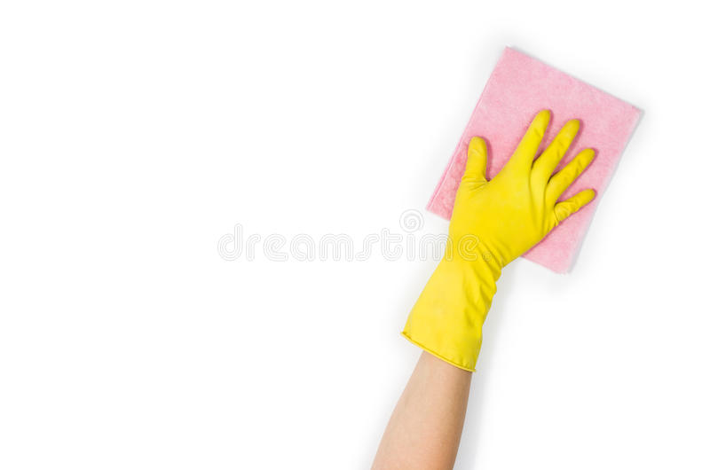 Woman`s hand cleaning isolated on white background royalty free stock image