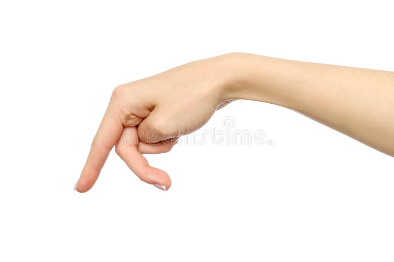 Woman`s hand with fingers simulating someone walking or running. Isolated on white stock image