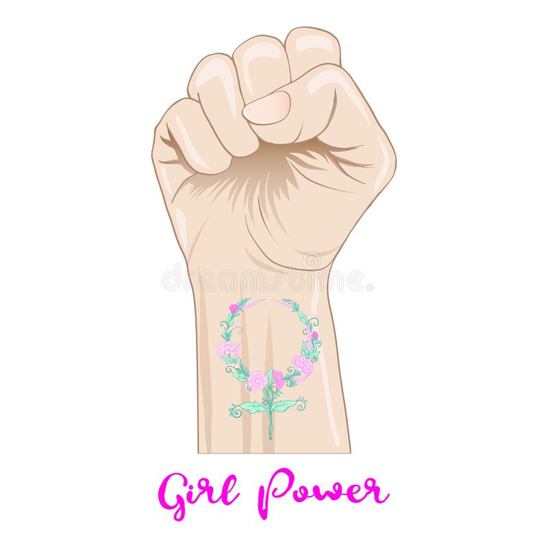 Woman`s hand fist raised up freedom sign with feminism sign with royalty free illustration