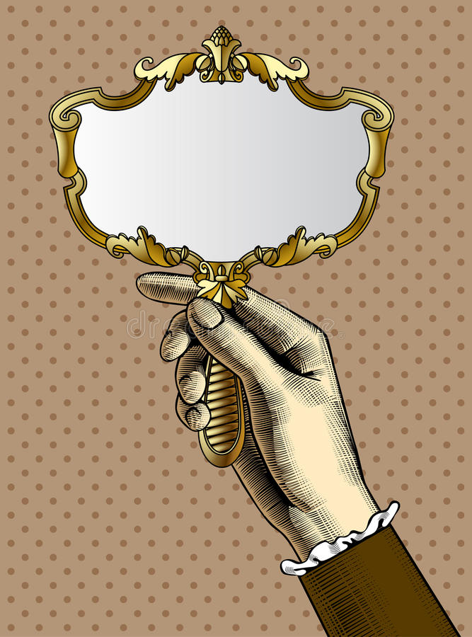 Womans Hand With A Gold Retro Mirror Stock Vector Illustration of