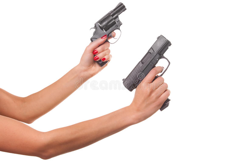 Download Woman's hand with a gun stock image. Image of adult, hand - 11966893