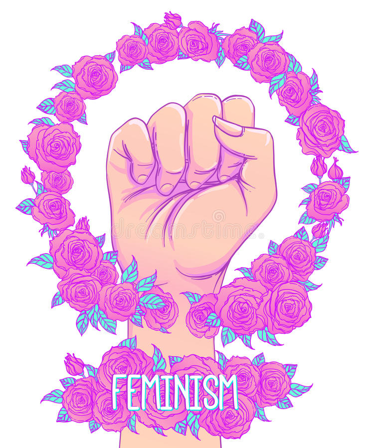 Woman's hand with her fist raised up. Girl Power. Feminism conce. Pt. Realistic style vector illustration in pink pastel goth colors on white. Sticker, patch royalty free illustration