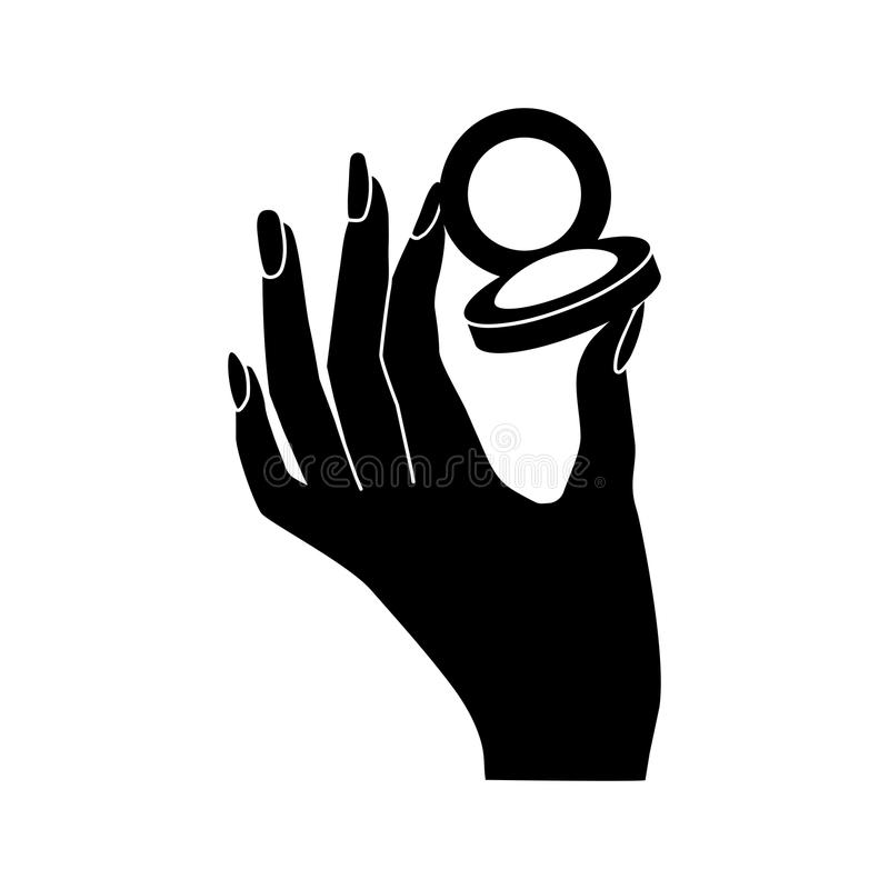 Woman`s hand hold eye shadow vector icon royalty free illustration