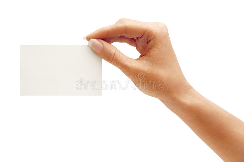 Woman's hand holding business card stock photos