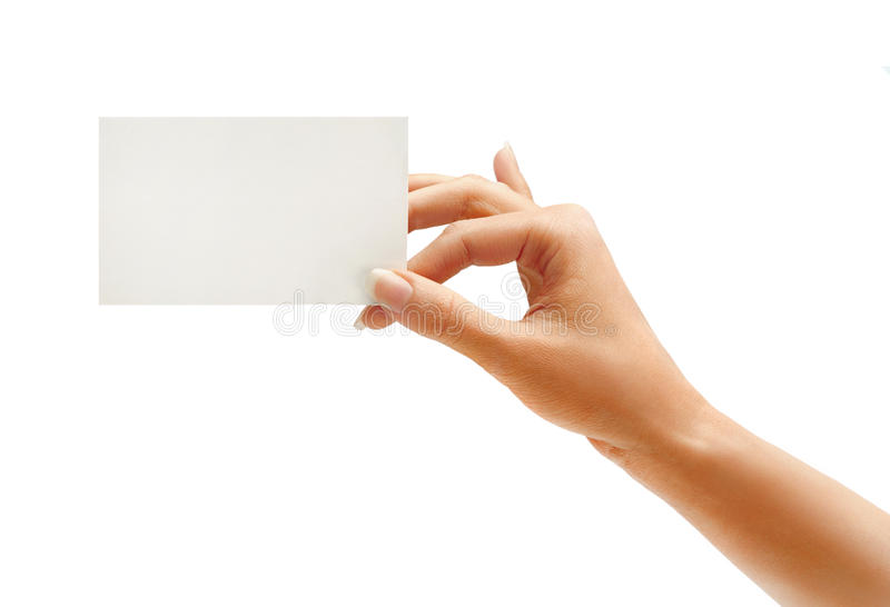 Woman's hand holding business card royalty free stock images